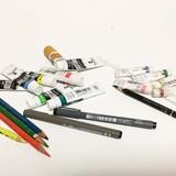 [ポスターカラー x色鉛筆x ドローイングペン] [透明水彩x 色鉛筆x ストロー]を使った作品